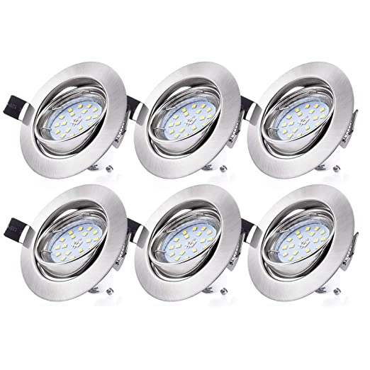 Liqoo 6 x GU10 4W Bombilla LED Lámpara Con Marco Cuadrado Bajo Consumo Ahorra 90%