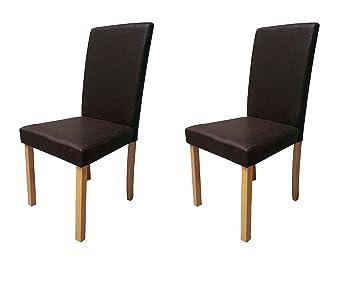 Sam 2 Er Set Polster Stuhl, Esszimmer Stuhl In Dunkelbrauner Antik