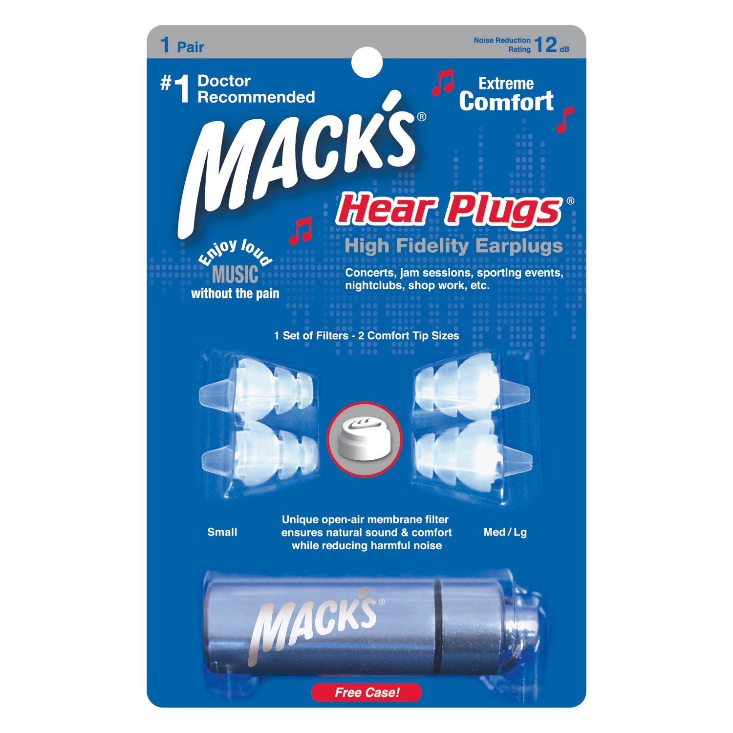 Mack's Hear Plugs High Fidelity Ear Plugs - Musician Earplugs - 1 Pair (2 comfort tip sizes) - Clear