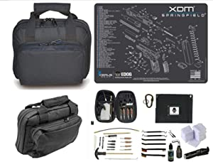 EDOG Springfield Armory XDm Promat & 11.5″ Double Gun Range Bag, Soft Padded & Compact & 28 PC Cleaning Essentials & Pro Mat Kit