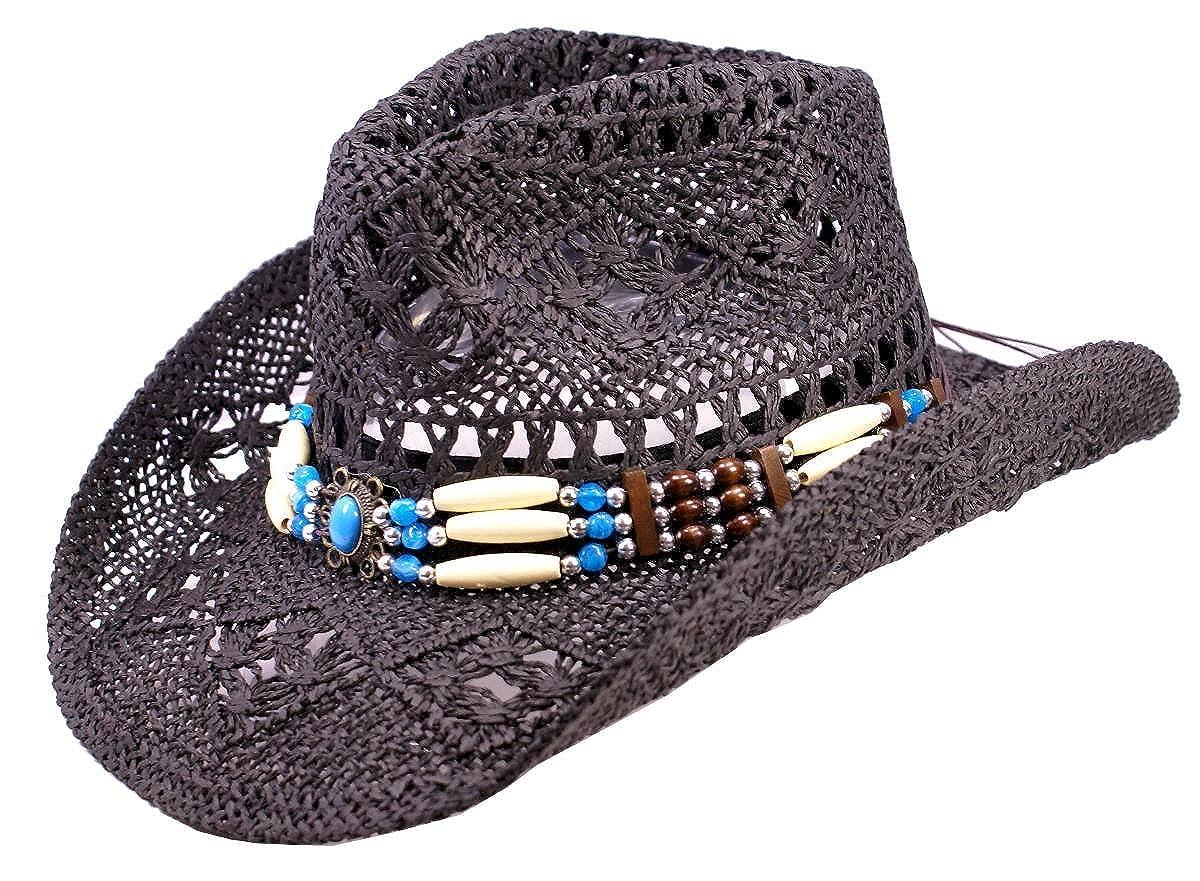 Schwarzer Strohhut, Westernhut, Cowboyhut mit breiten dekorativen Hutband