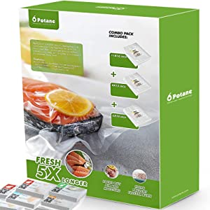 POTANE Vacuum Sealer Bags, Precut 150 Gallon 11x16, Quart 8x12, Pint 6x10, Smell-Proof, Puncture Prevention, Heavy duty for POTANE, Food Saver, Seal a Meal, Weston. Commercial Grade, BPA Free, Great for Vacuum storage, Meal or Sous Vide