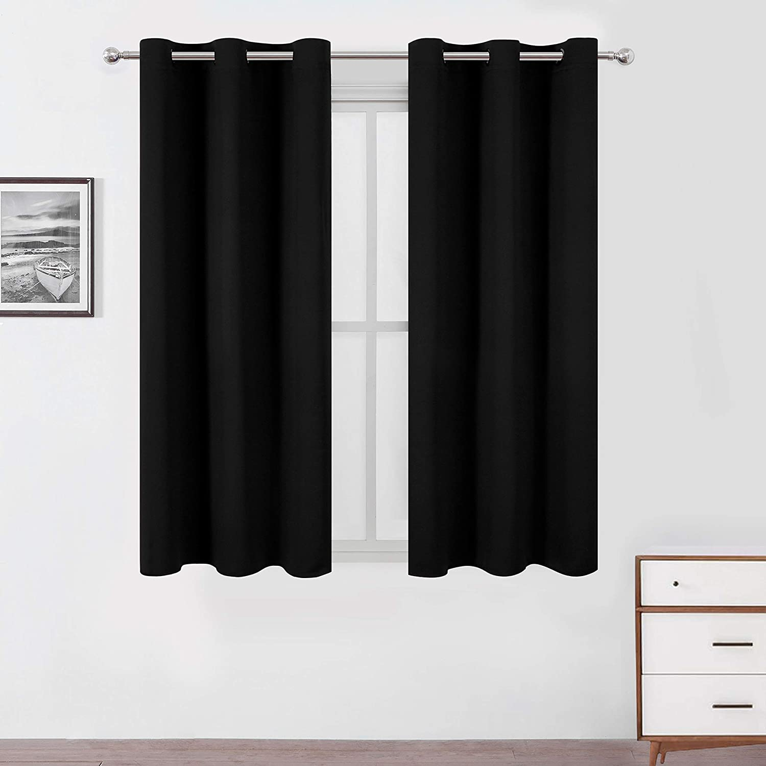 LEMOMO Black Blackout Curtains/42 x 63 Inch/Set of Two Panels Grommet Room Darkening Curtains for Thermal Insulated Bedroom Curtains