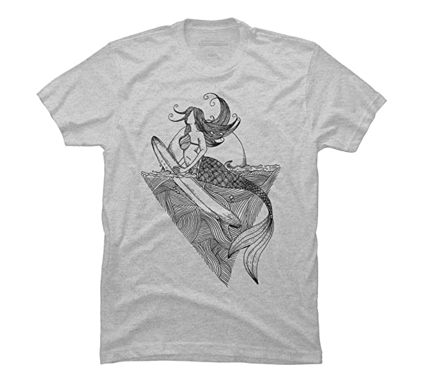mermaid surf Men's Small Athletic Heather Graphic T Shirt - Design By Humans