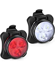 Akale Rechargeable Bike Light Set, Super Bright LED Bicycle Lights Front and Rear, 4 Light Mode Options, 650mah Lithium Battery, Bike Headlight, IPX4 Waterproof, 2 USB Cables 3 Strap Included