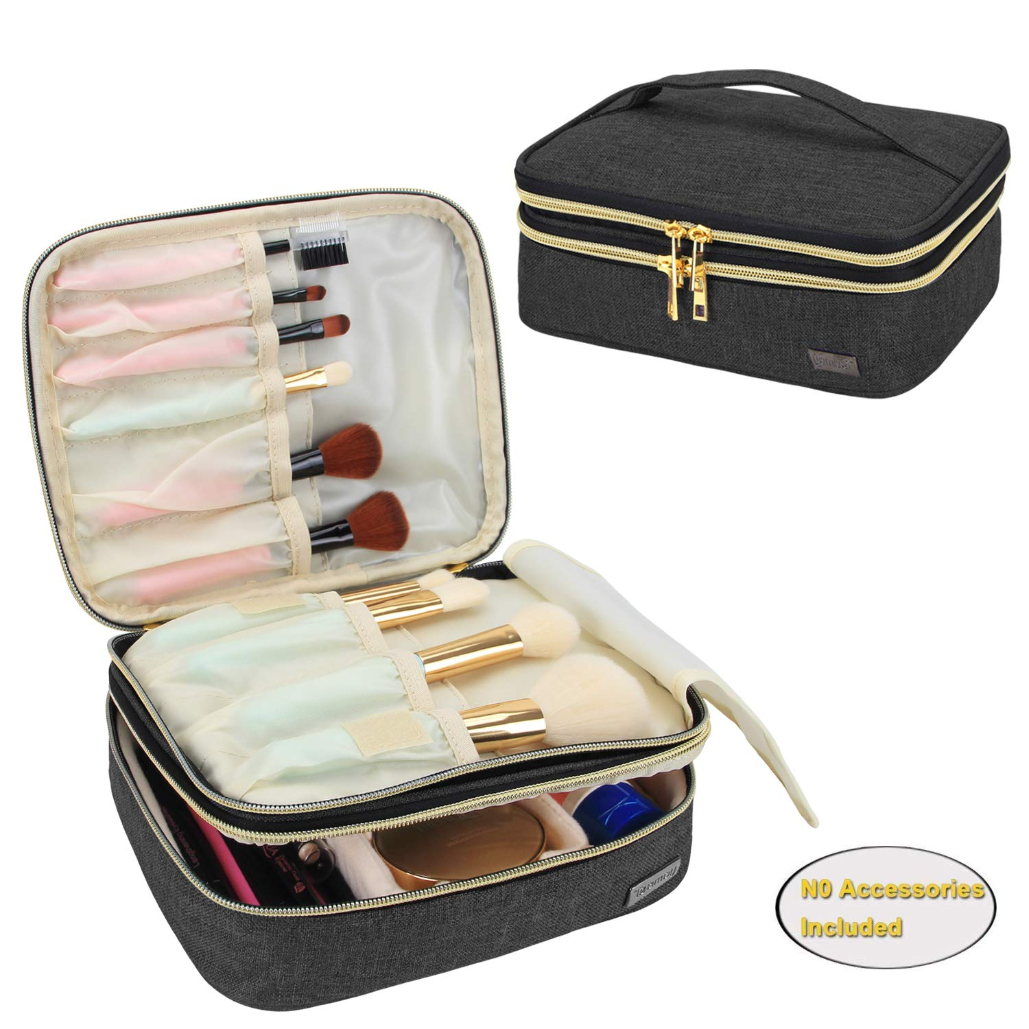 Teamoy Travel Makeup Brushes Case(up to 8.8'' Brushes), Professional Makeup Train Organizer Bag with Handle for Makeup Brushes and Beauty Essentials-Medium, Black(New Version)