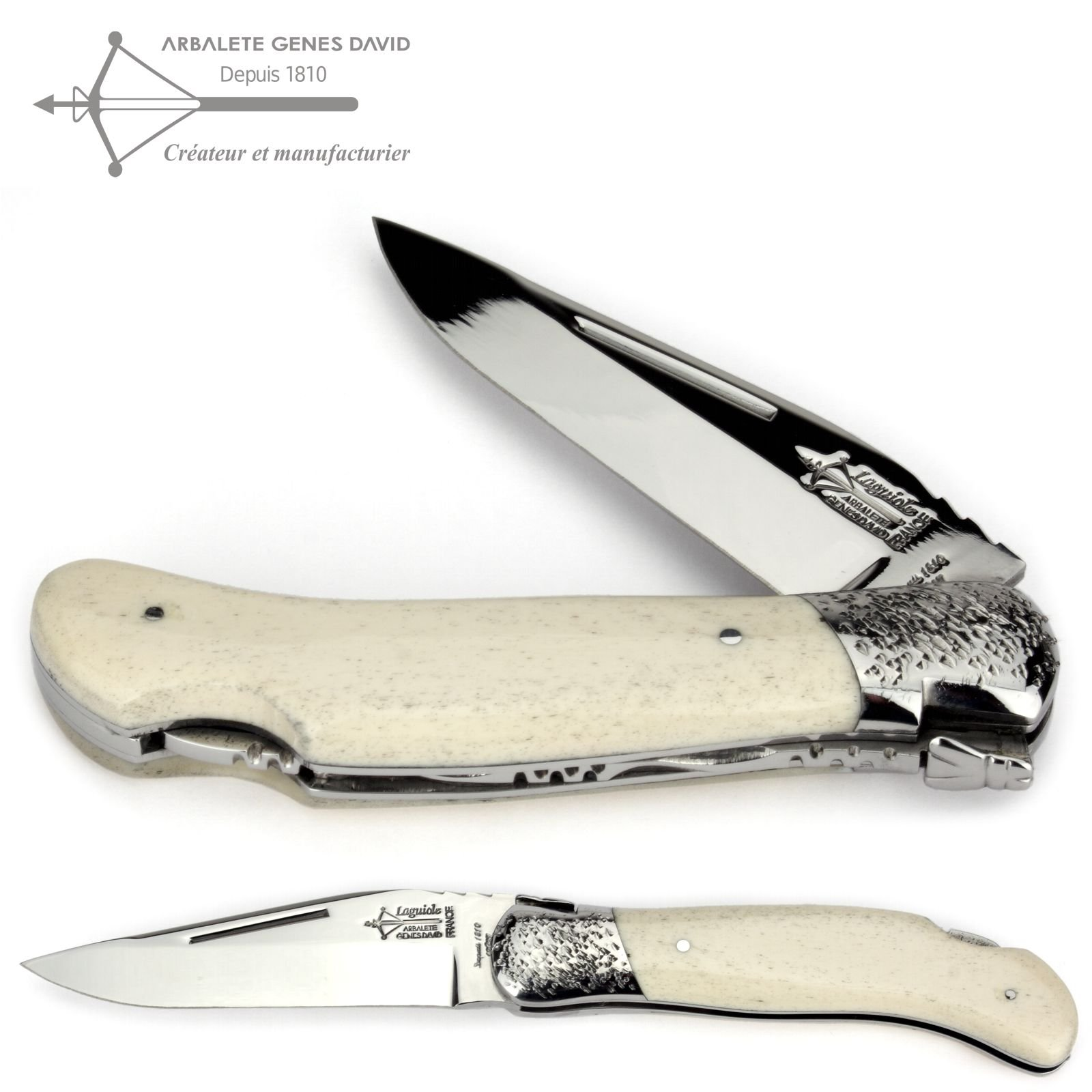 Laguiole Arbalete G. David - french handmade hunting folding knife 12 cm - cattle bone handle - hammered bolsters - blade stainless steel shiny by Arbalète Genès David
