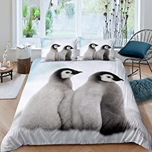 Couple Penguin Comforter Cover Queen Lovely Cute Penguins Bedding Set Antarctic Snow Duvet Cover for Boys Girls Winter Animals Theme Bedspread Cover Room Decor Bedclothes 3pcs Bedding Set