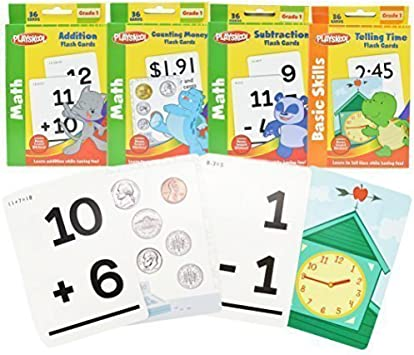 4 Pack Playskool Flash Cards Kids Learn Children School Math Basic Skills Grade1