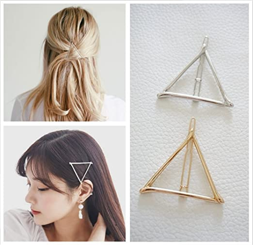 Minimalist Geometric Triangle Hair Clip, Dainty Hollow Metal Hairpin Clamps Accessories Barrettes Bobby Pin Ponytail Holder Statement (Gold and Silver)