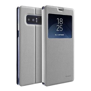 doupi Deluxe Ventana FlipCover para Samsung Galaxy Note 8, Carcasa Case magnético Funda Caso tirón Estilo Libro Protector de Cuero Artificial, Blanco
