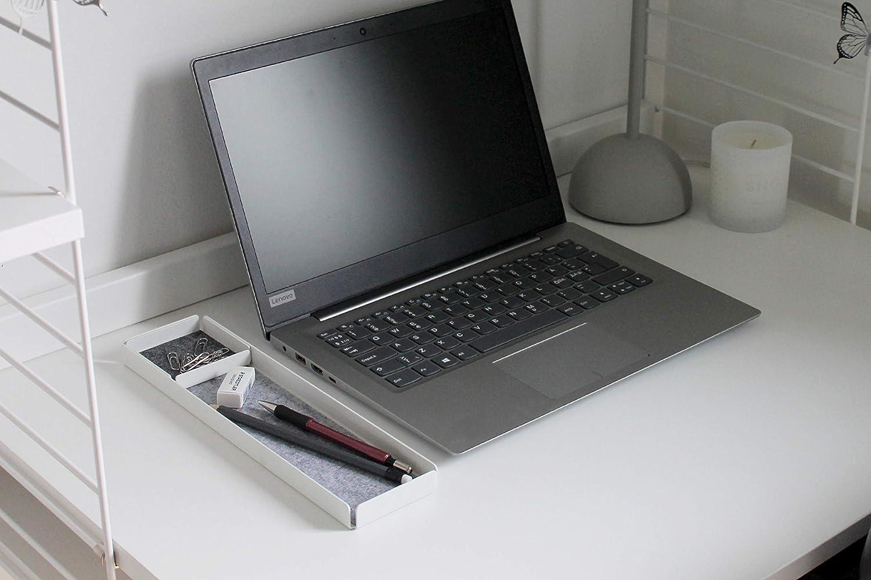 Gr/ö/ße: ca NAV Scandinavia Office Rest X Set aus 2 Organizer Tabletts aus beschichtetem Stahl in Schwarz 30x8x2 cm // 7 x7 x1.4 cm Einlage aus Kunstfaserfilz in Grau