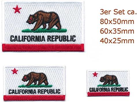 3 Usa Kalifornien Sacramento California Flagge Aufnäher Aufbügler Set 0970 Auto