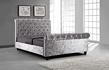 black upholstered sleigh bed. AFS Silver Crushed Velvet Upholstered Sleigh Bed Frame Diamond Buttons 4ft6 Double Black S