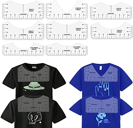 8 Pack Clear T-Shirt Ruler Guide Set for Heat Transfer Vinyl Tshirt Alignment Center Designs, Round and V-Neck, Front and Back Meet Your Needs, 4 Size Suitable for All Ages