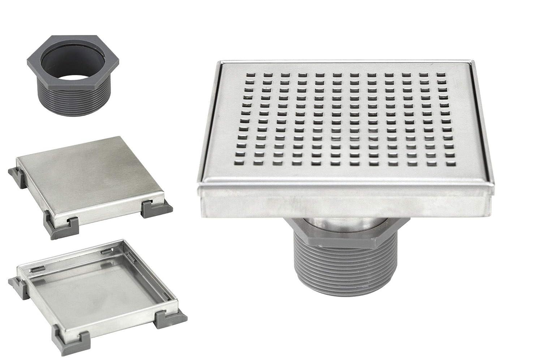 4 Inch Shower Square Shower Floor Drain Brushed 304 Stainless Steel 4 Inch Square Checker Square Checker Pattern Grate Bonus 2 IN 1 Reversible Tile Insert /& Flat Grate and Threaded Adaptor