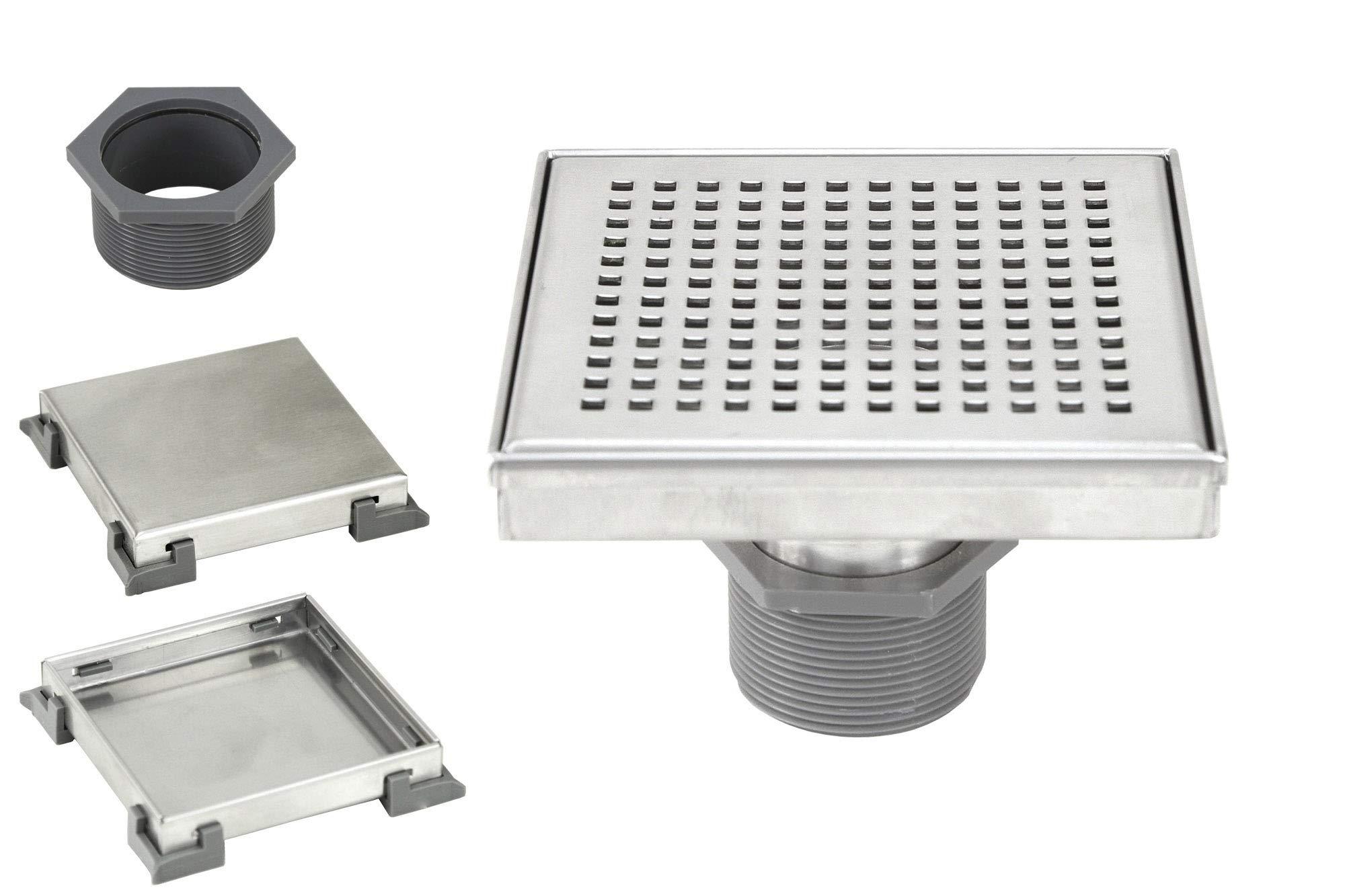 eModernDecor 6 Inch Shower Square Shower Floor Drain – Brushed 304 Stainless Steel – Bonus 2 IN 1 Reversible Tile Insert & Flat Grate and Threaded Adaptor (6 Inch Square Checker Pattern)