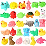 Pack of 30 Mini Colorful Animals Rubber Bath Toys Cute Rubber Assorted Wildlife Animal Characters for Baby