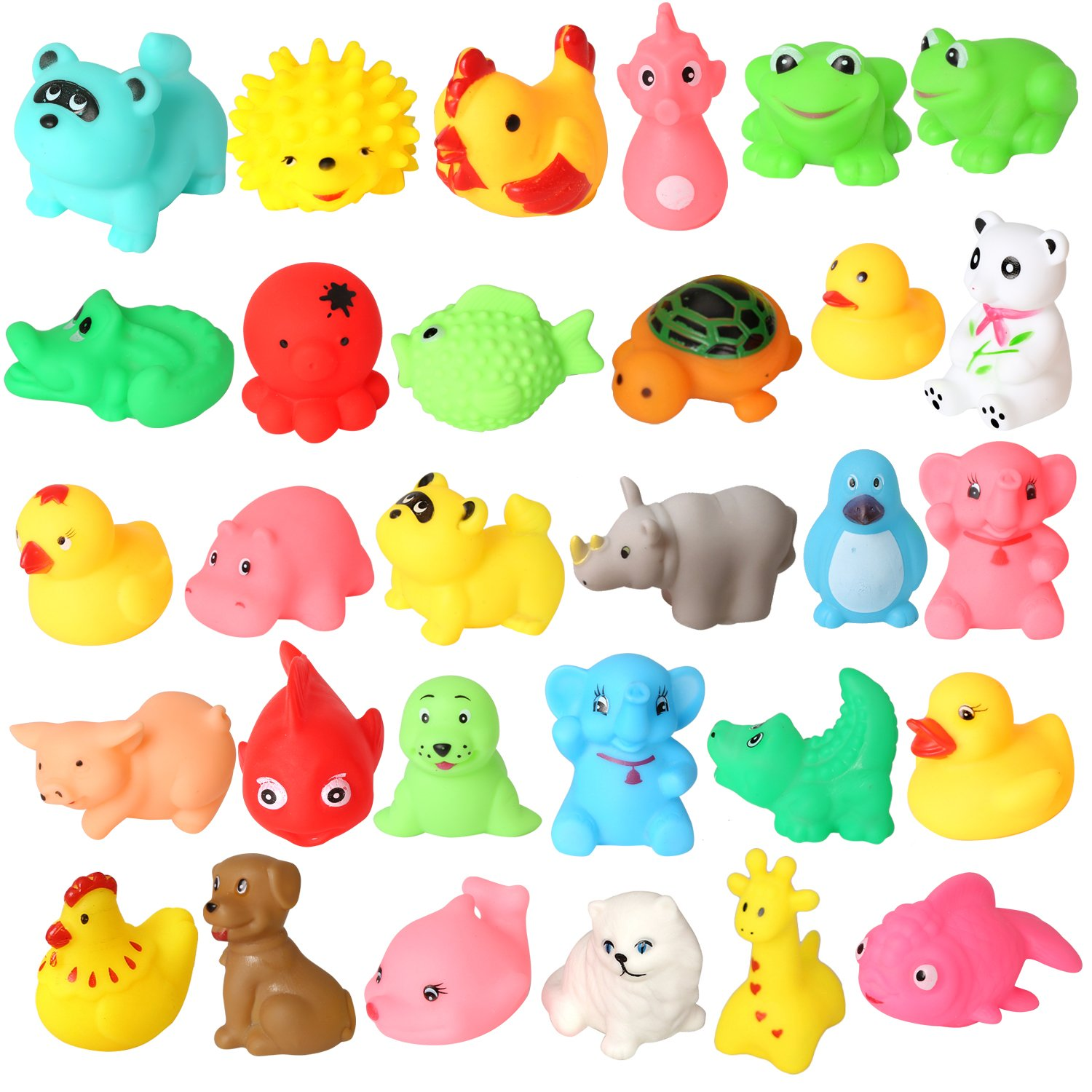 rainbow yuango Pack of 30 Mini Colorful Animals Rubber Bath Toys Cute Rubber Assorted Wildlife Animal Characters for Baby Chenghai