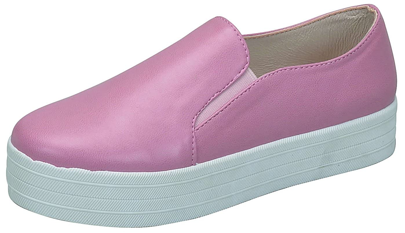 Breckelles Cyber-01 Womens Classic Round Toe Elastic Slip-on Platform Sneaker PU