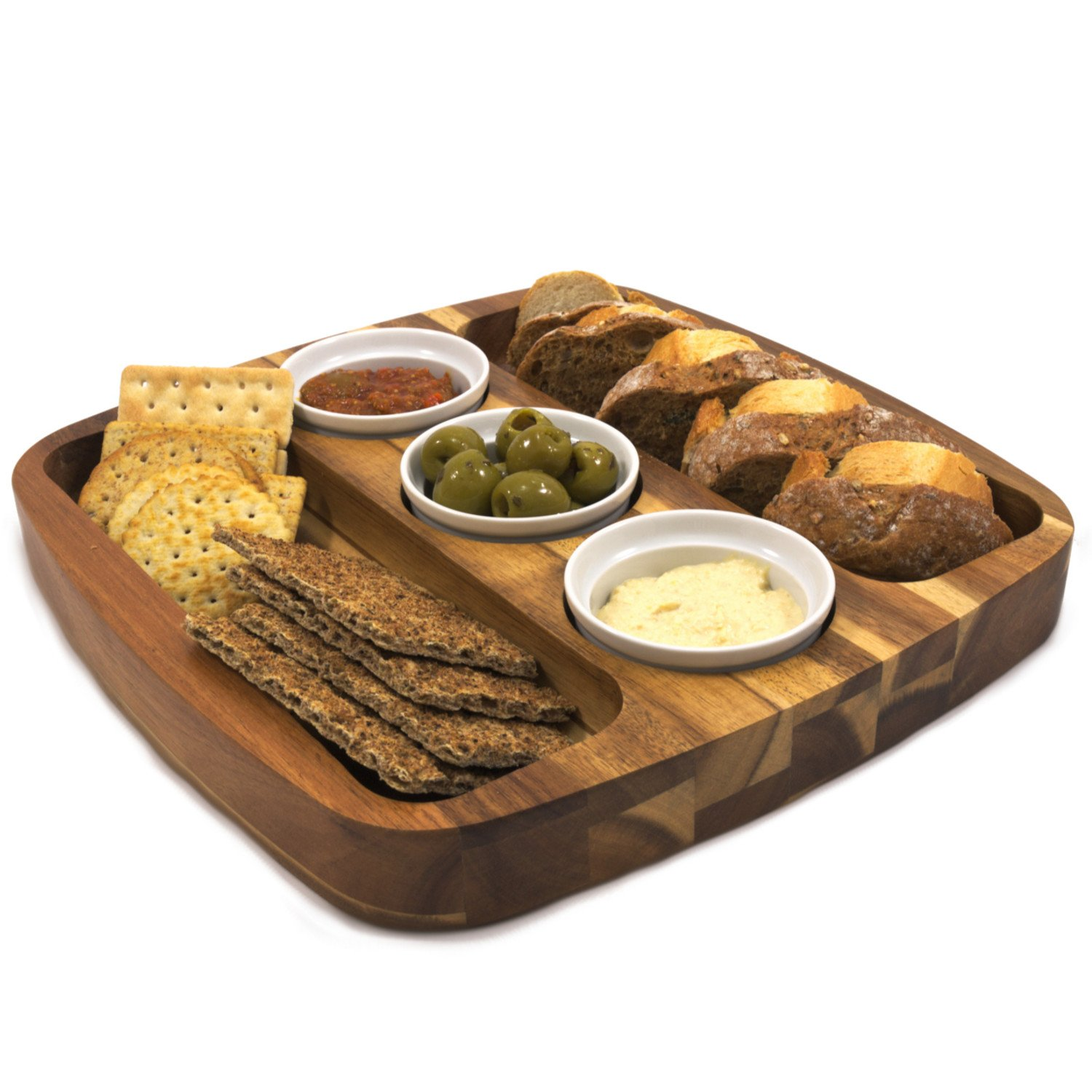 Chef-Hub Wooden Serving Rectangle Board With 3 Dip Bowls
