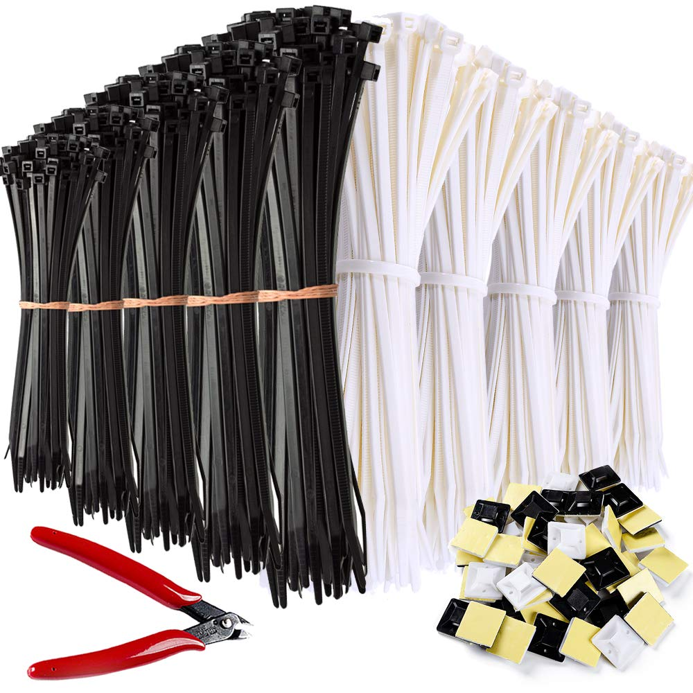 Zip Ties 1000 Pcs Nylon Cable Zip Ties with Self-Locking 4/6/8/10/12 Inch, White and Black, UV Resistant, Heavy Duty with Wire Cable Cutters