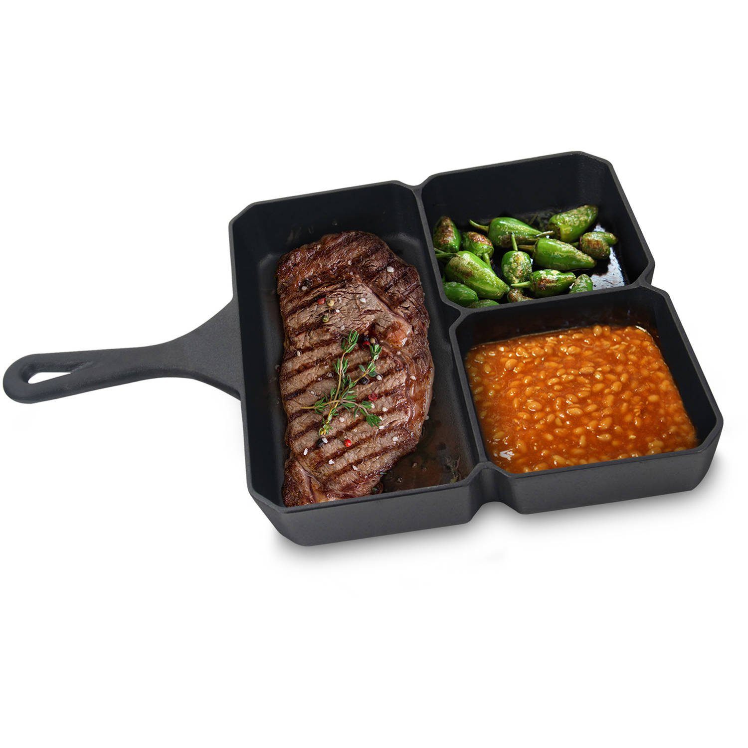 Jim Beam Pre Seasoned Heavy Duty Construction 9'' Cast Iron 3 Compartment Square Skillet for Superior Heat Retention and even Cooking