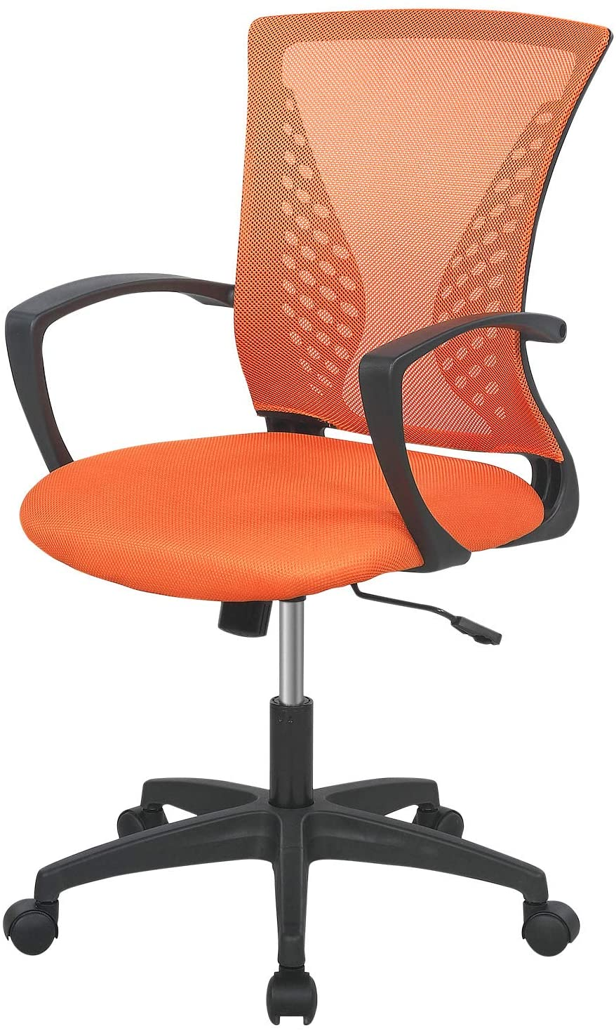 Home Office Chair Mid Back PC Swivel Lumbar Support Adjustable Desk Task Computer Ergonomic Comfortable Mesh Chair with Armrest (Orange)