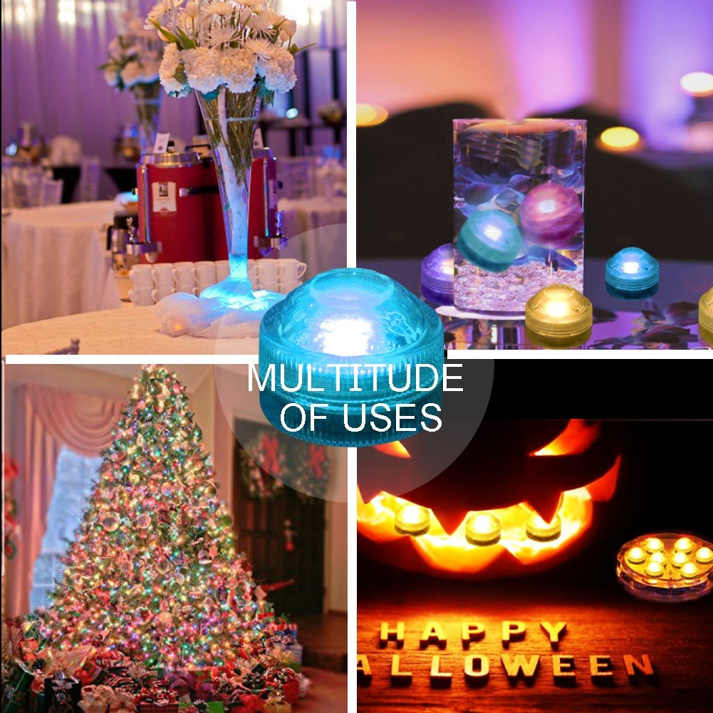 AMAGIC 12pcs Submersible LED Lights, Waterproof Underwater Lights, Battery Powered RGB Color Changing Tea Lights with 2 Remote Controls for Vase, Pool, Party and Holiday Decros by AMAGIC (Image #7)