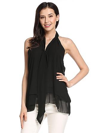 54be55cf1b8e3 Meaneor Women Summer Sleeveless V Neck Casual Shirt Blouse Tops (Black M)
