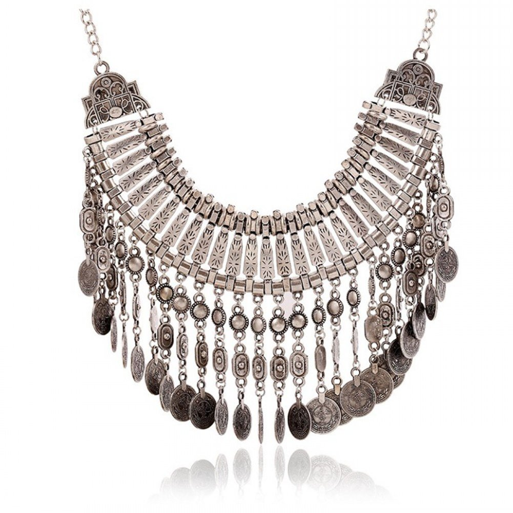 Vintage Women Bohemian Coin Statement Bib Necklace Festival Turkish Tribal Jewelry Necklace Pendant (Silver 1)