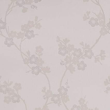 Amazon Com Graham Brown Cherry Blossom Wallpaper White Home