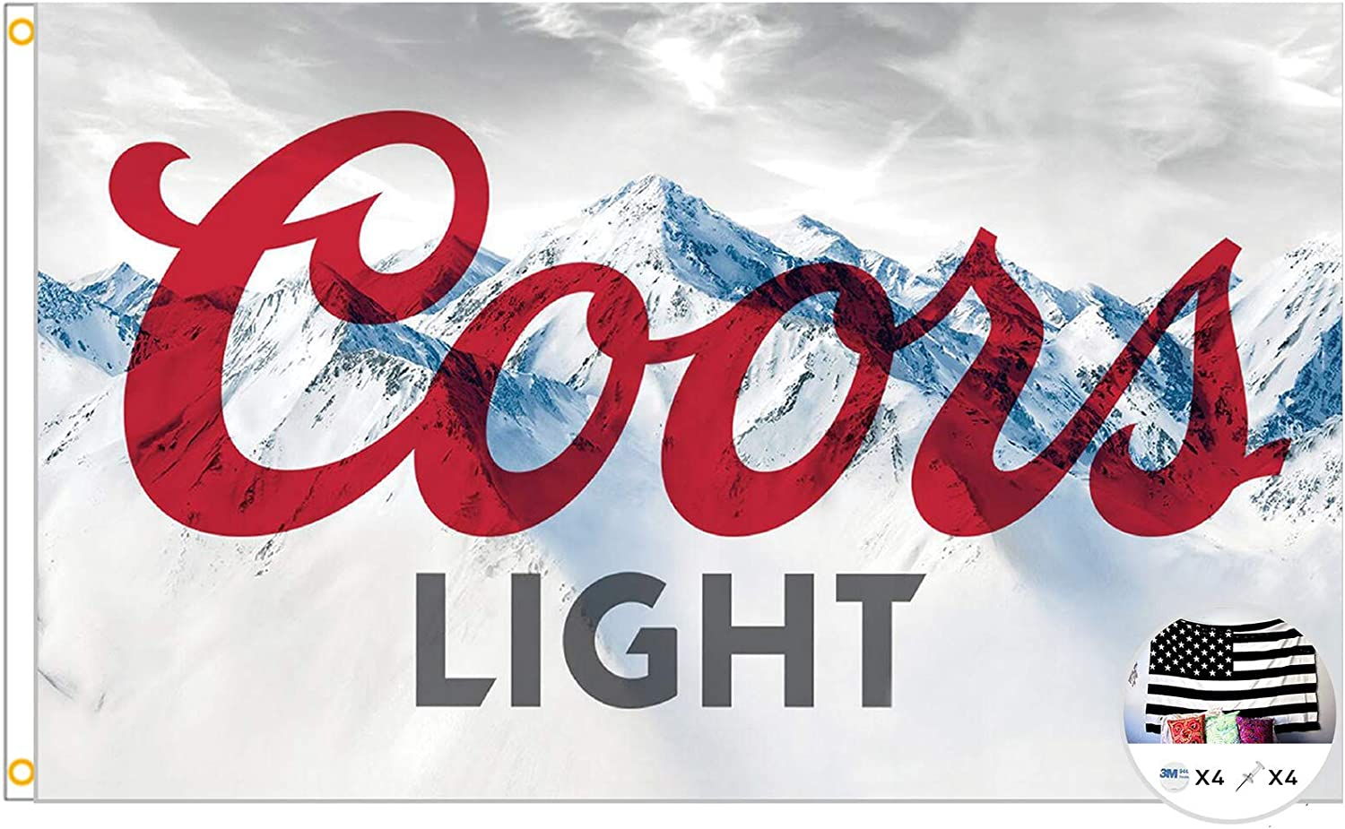 Coors Light Flag Cool Beer Flags,3x5 Feet Banner,Funny Poster UV Resistance Fading & Durable Man Cave Wall Flag with Brass Grommets for College Dorm Room Decor,Outdoor,Parties,Gift,Tailgates