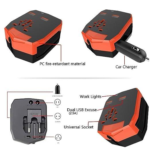 CA Universal KINDEN internacionarde mortajadora cargador de viaje cargador de coche ancha pared cargador Adaptador (US/EU/UK/AU) con 2,5 A doble ...