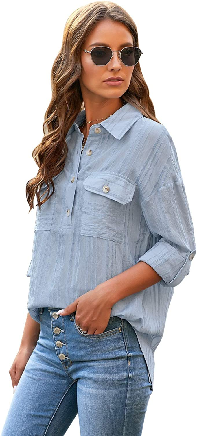 GRAPENT Womens Casual Loose Roll-up Sleeve Blouse Pocket Button Down Shirts Tops