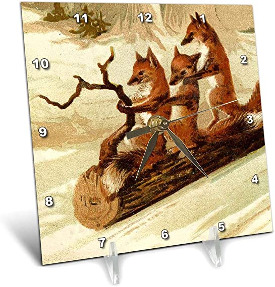 3dRose Foxes Using a Log As Sled – Desk Clock, 6 by 6-Inch dc_165402_1