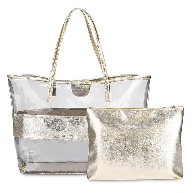 Bolso transparente hecho de PVC de alta calidad y resistente al agua, cuenta con cierre de cremallera superior.