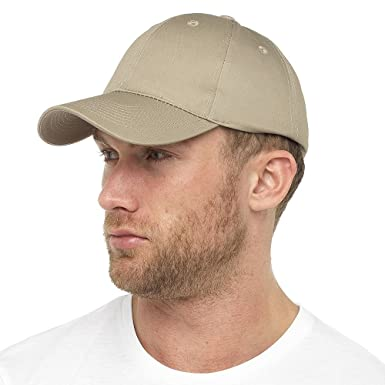 ddd0888c2ea Tom Franks Mens Basic Plain Dyed Baseball Cap With Adjustable Cinch Belt -  Plain Beige Colour