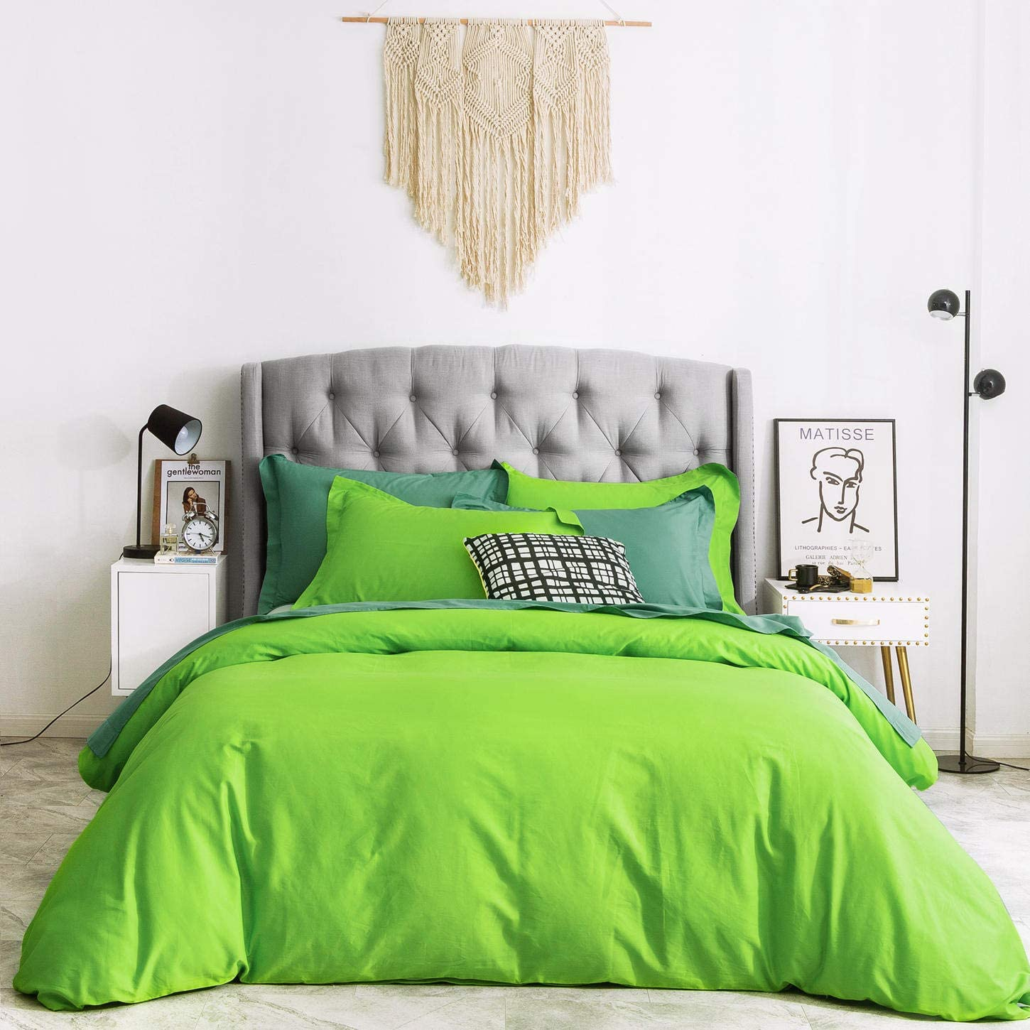 SUSYBAO 3 Pieces Duvet Cover Set 100% Natural Cotton Queen Size 1 Duvet Cover 2 Pillow Shams Light Green Luxury Quality Ultra Soft Breathable Lightweight Fade Resistant Solid Bedding with Zipper Ties