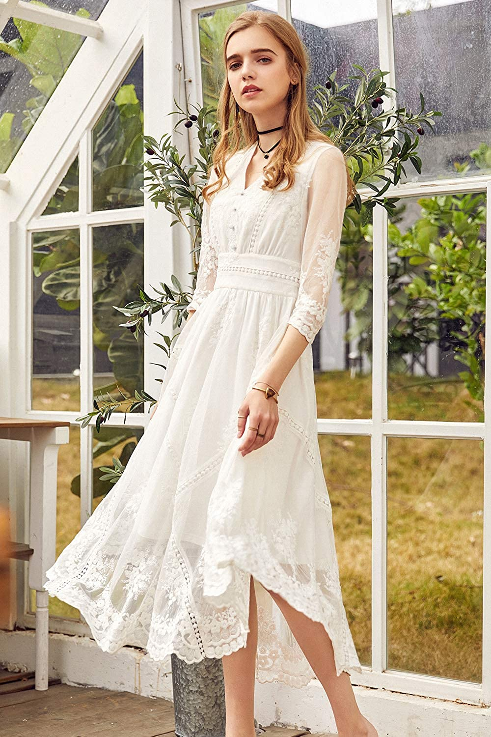 1920s Wedding Dresses- Art Deco Wedding Dress, Gatsby Wedding Dress Artka Womens Lace Embroidered Maxi White Sheer Wedding Dress $81.00 AT vintagedancer.com