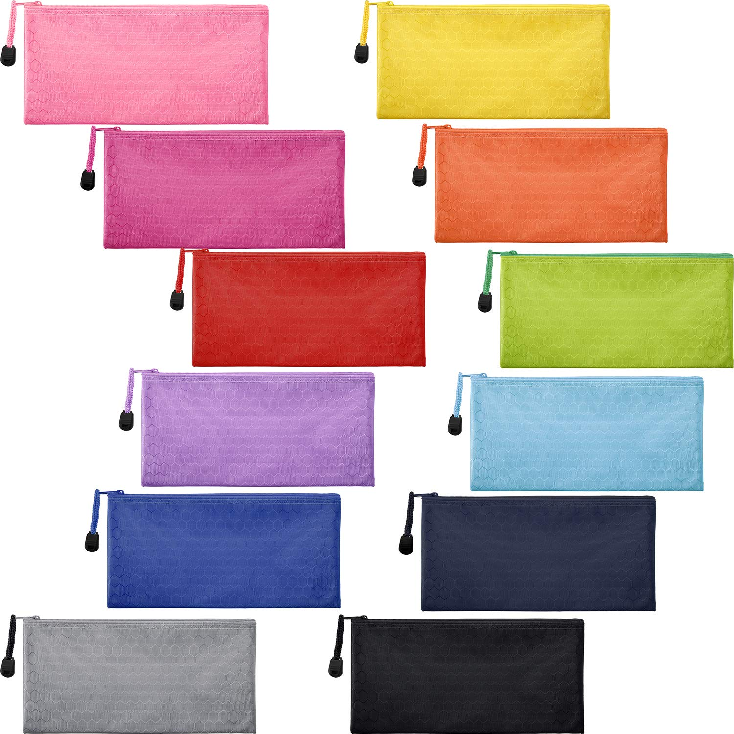 Jovitec 12 Pieces 12 Colors Zipper Waterproof Bag Pencil Pouch for Cosmetic Makeup Office Supplies and Travel Accessories