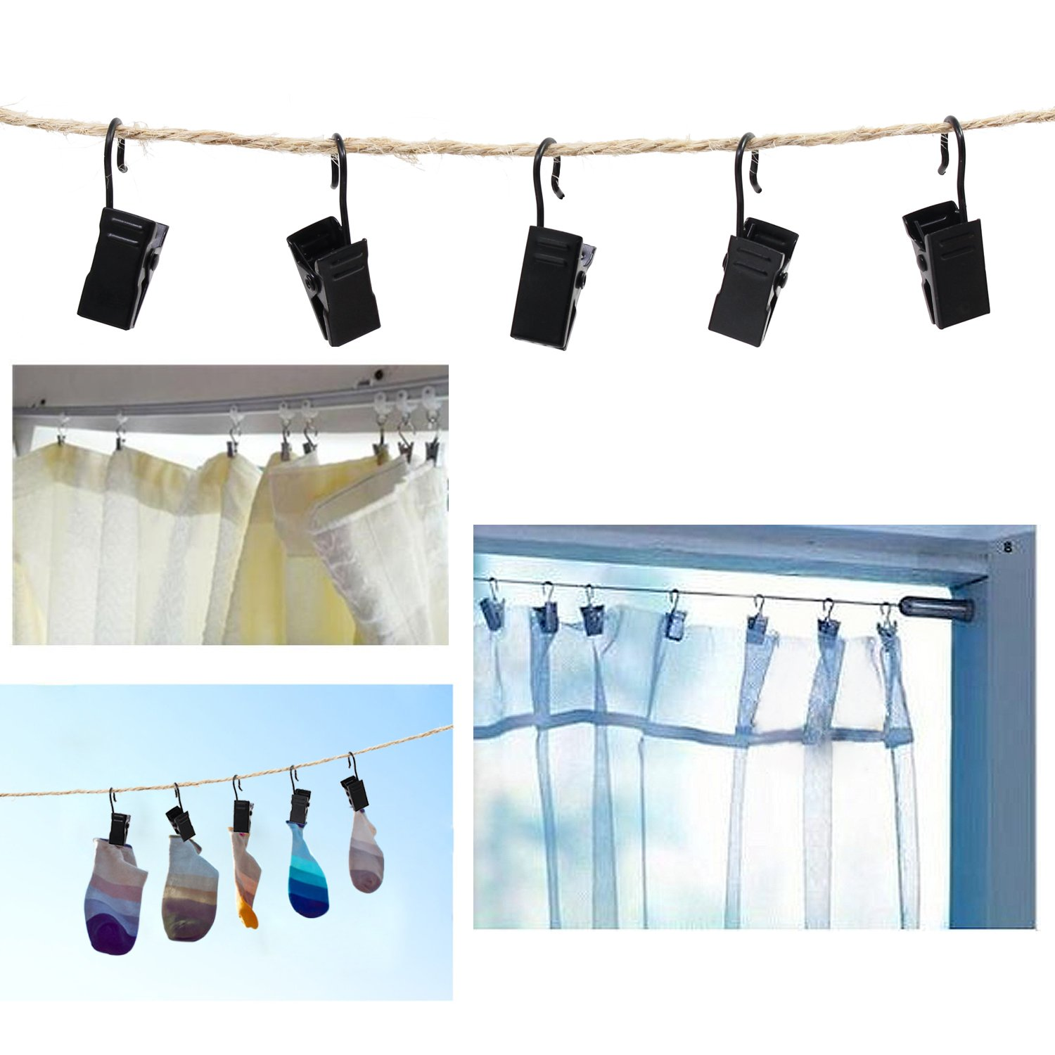 KEESIN Stainless Steel Curtain Clips with S Hook Hanging Clamp Hooks for Curtain,Photos,Lights Hanger and Home Decoration Pack of 50