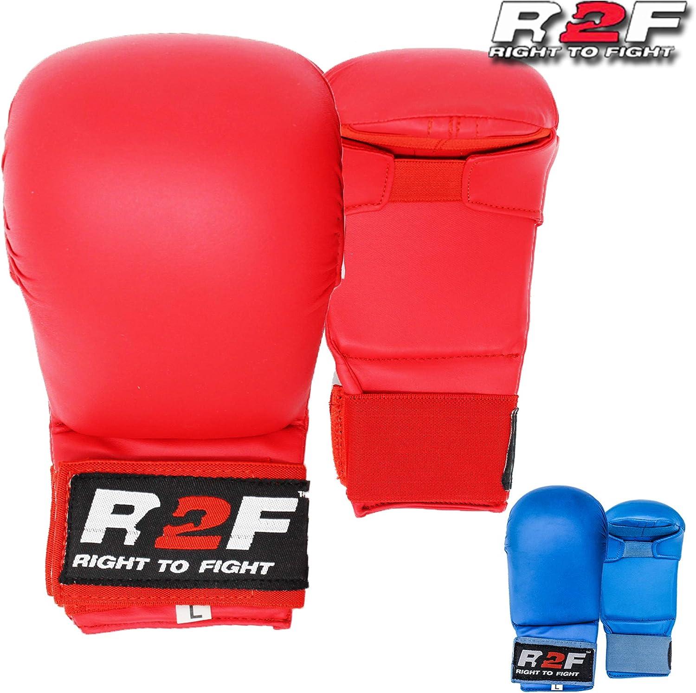 R2F Sports WKF PU Sans Pour Autant Pouce Karate Mitts Arts Martiaux MMA Muay Thai Sparring Entra/înement Gants