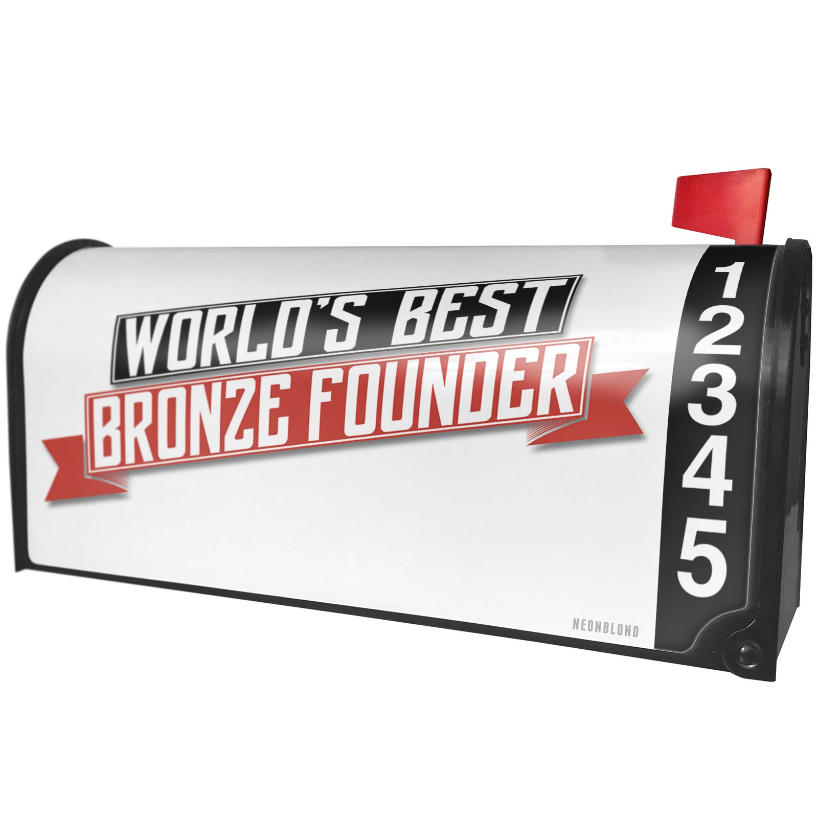 NEONBLOND Worlds Best Bronze Founder Magnetic Mailbox Cover Custom Numbers