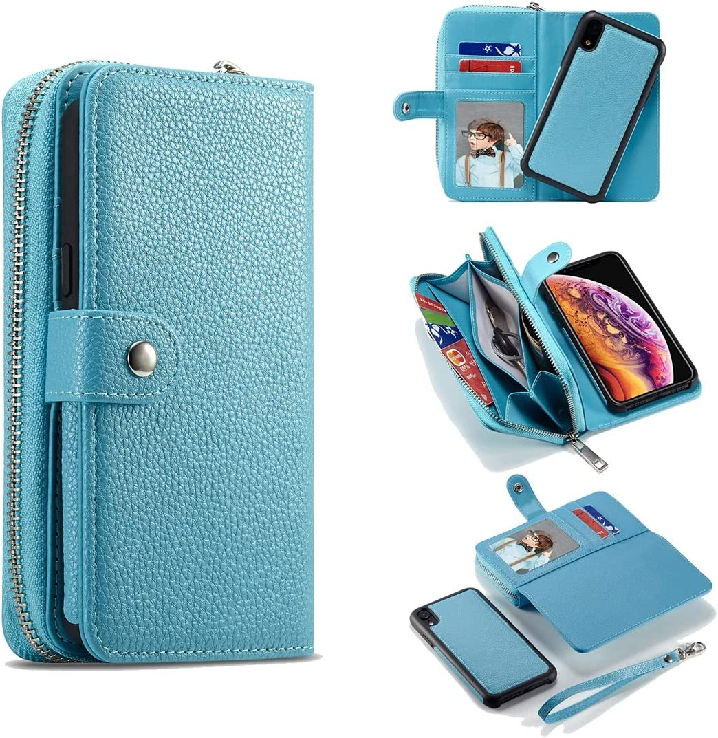 Phone Back Cover Case For iPhone XS Max Leather Wallet Zipper Wallet,Removable Magnetic Matte TPU Phone Case,with ID & Credit Card Pocket and Detachable Wrist Strap Case Cover sleeves ( Color : Blue )