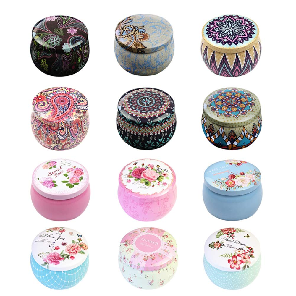 Norbi 12 pcs DIY Candy Tin Jar DIY Candle Making Kit Candy Box Great for Dry Storage, Spices, Camping, Party Favors, and Sweeting Gift by Norbi (Image #1)