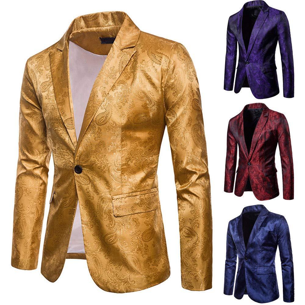 Fashion Mens V-Neck Long Sleeve Formal One Button Slim Fit Blazer Suit Jacket Top