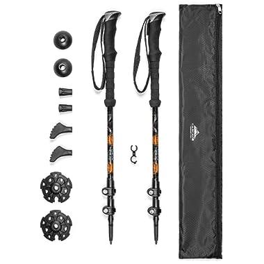 Cascade Mountain Tech Aluminum Adjustable Trekking Poles 2 Pack - Lightweight Quick Lock Walking or Hiking Stick - 1 Pair