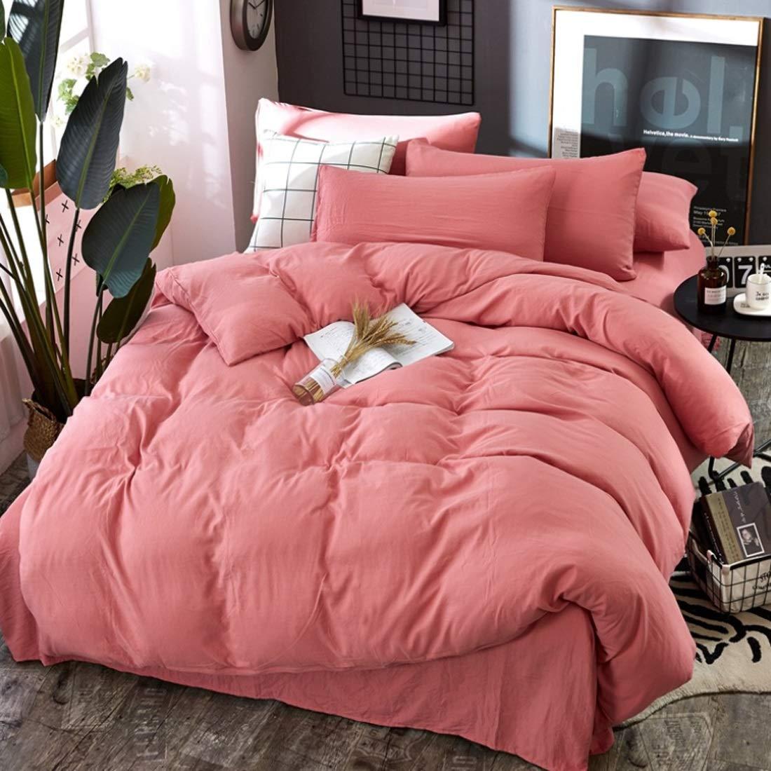 LilyAngel ホームインテリアに適した4つのコットンハイグレード高密度ブラッシングベッドリネンピローケースのベッドのベッドセットの4つのセット (Color : ピンク, サイズ : 150*200CM) B07NC5CX48 ピンク 150*200CM
