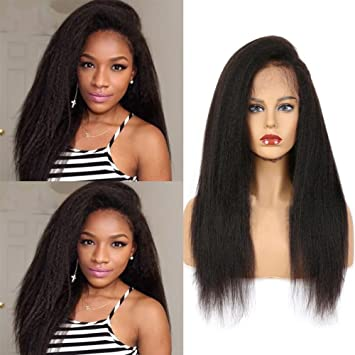 Nobel Hair Italian Kinky Straight Human Hair Wigs 360 Lace Frontal Wigs for  Black Women - a0888f91ab